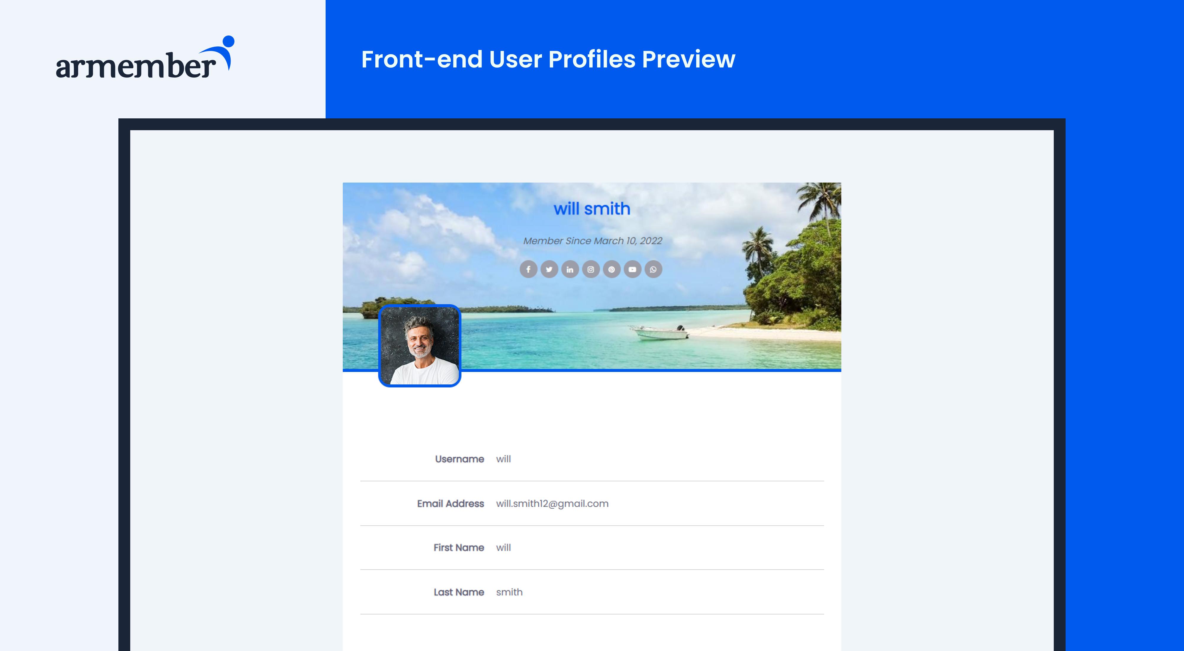 ARMember - Member Profile preview