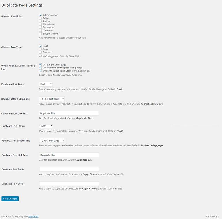 Duplicate Page Settings Screen