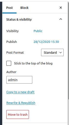 Block editor.