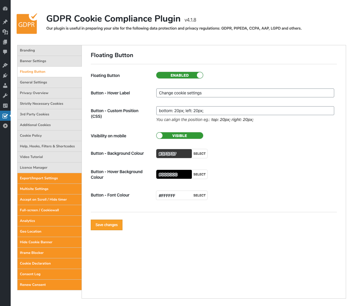 GDPR Cookie Compliance - Admin - Floating Button