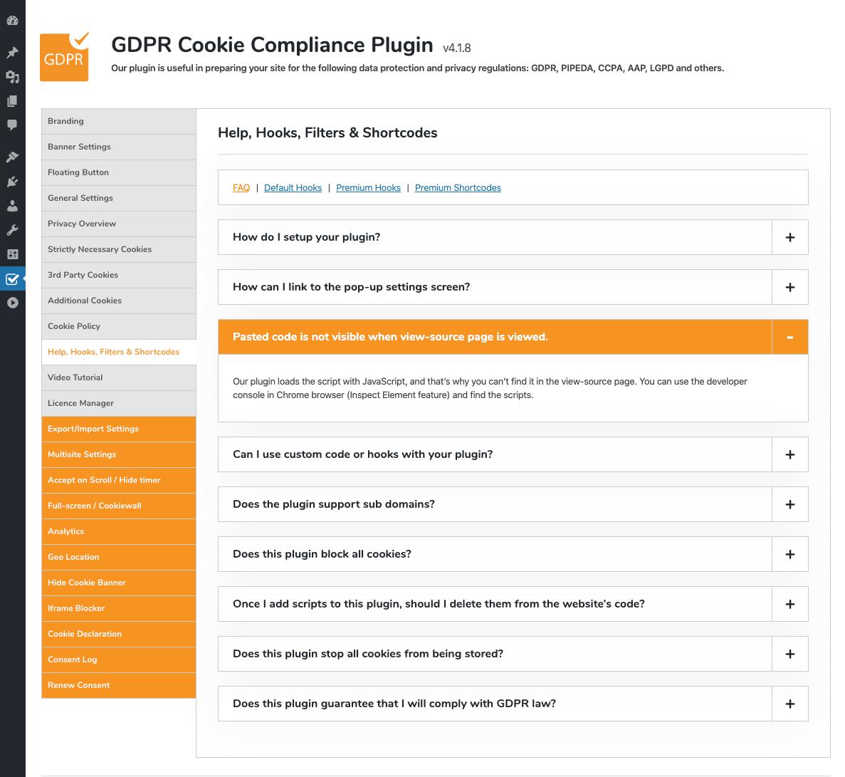 GDPR Cookie Compliance - Admin - Help - FAQ