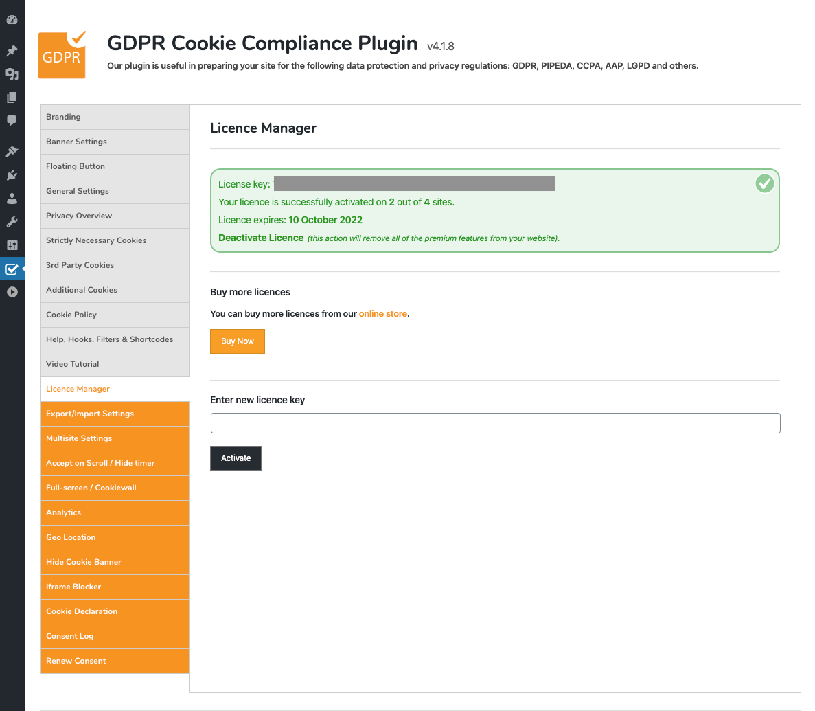 GDPR Cookie Compliance - Admin - Licence Manager