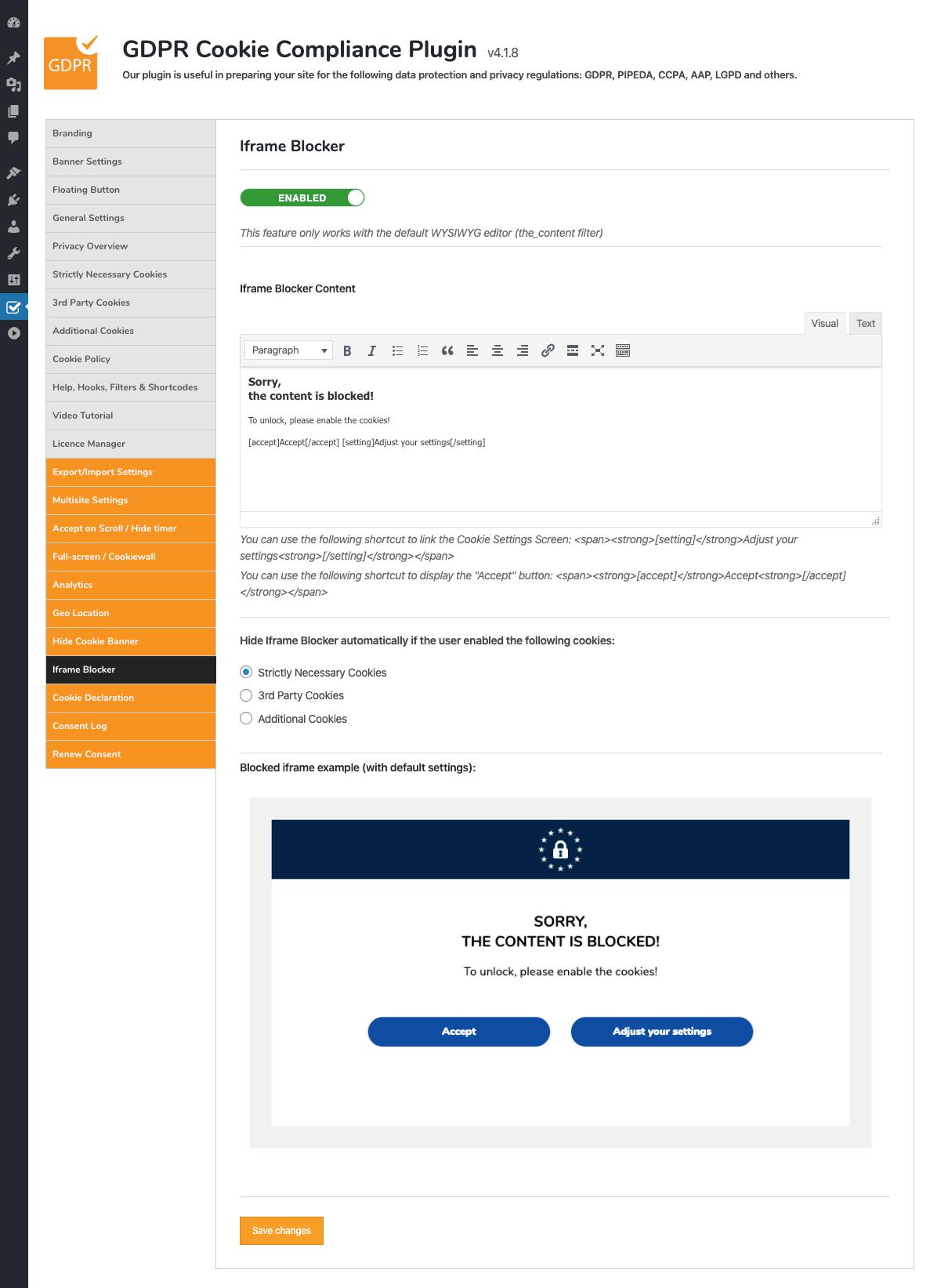 GDPR Cookie Compliance - Admin - Iframe Blocker / Pages [Premium]