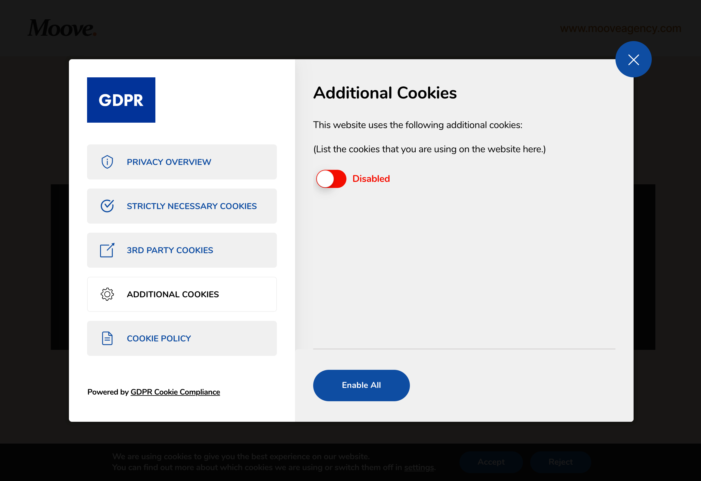 GDPR Cookie Compliance - Front-end - Additional Cookies