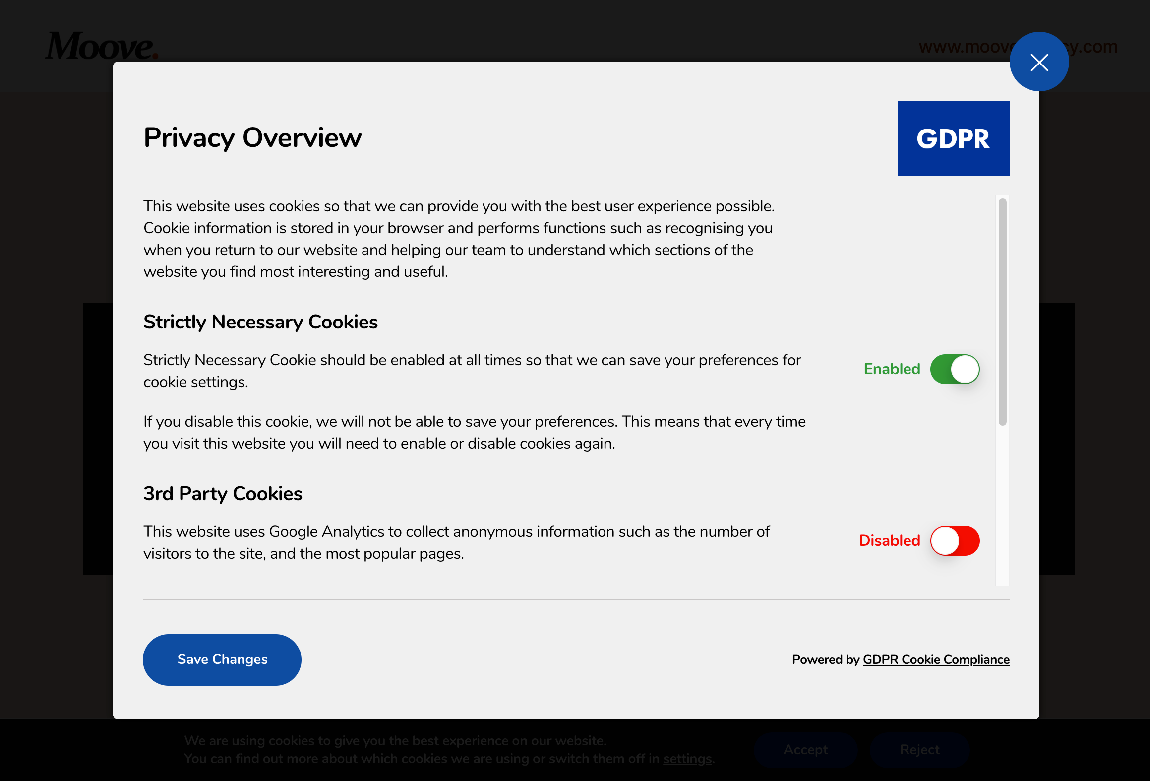 GDPR Cookie Compliance - Front-end - One Page Layout