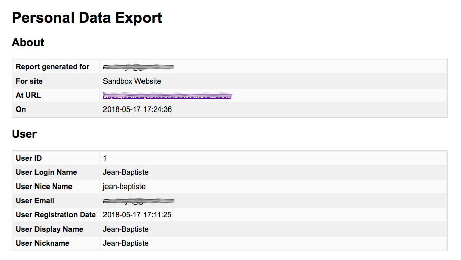 Personal Data Export as received by the user/visitor.