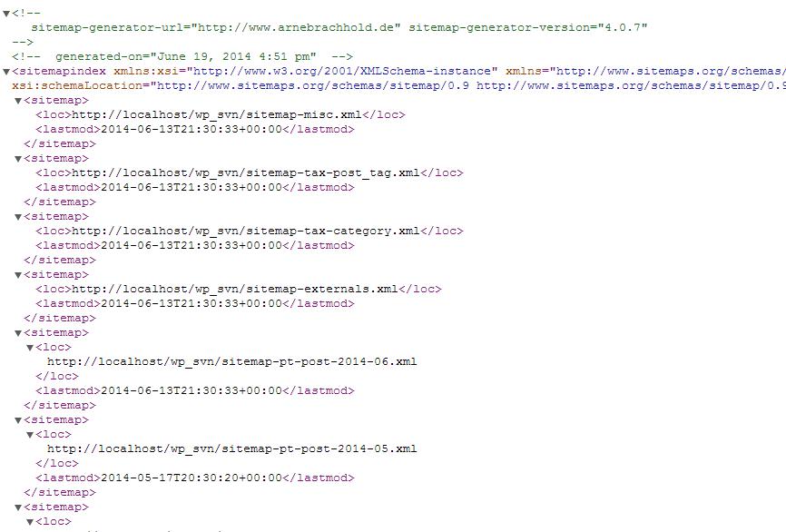 Sample XML sitemap (without stylesheet)