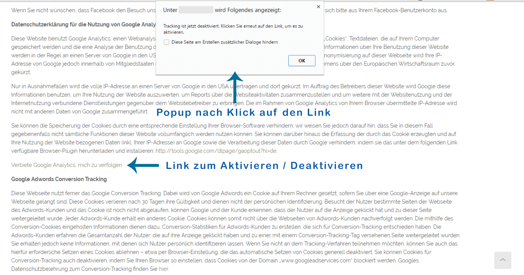 Activation / deactivation link with popup, on the page