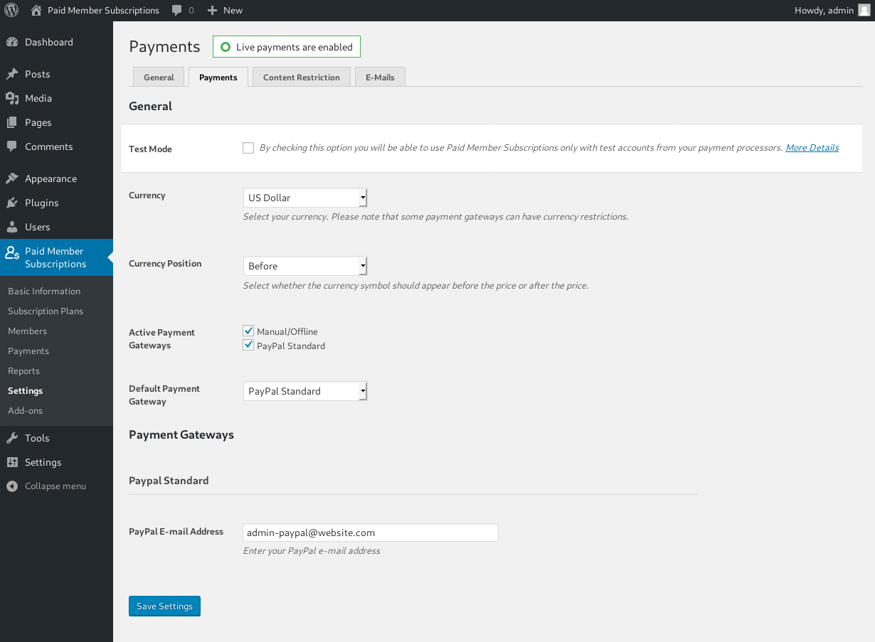 Settings - Setup PayPal payment gateway used to accept payments