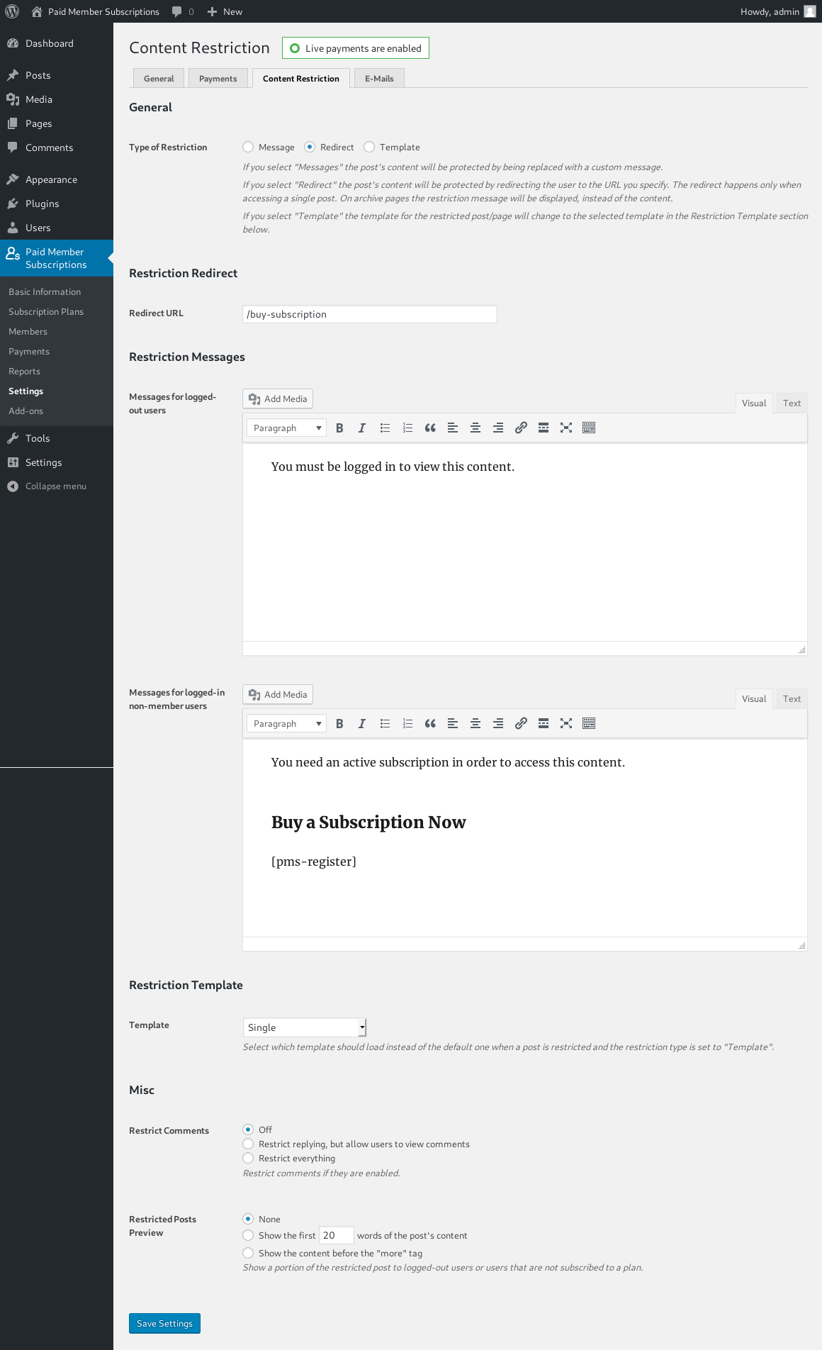 Settings - Content Restriction Messages
