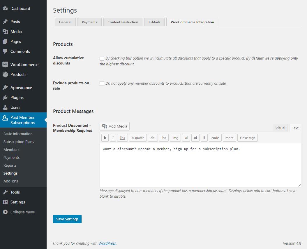 WooCommerce integration general settings