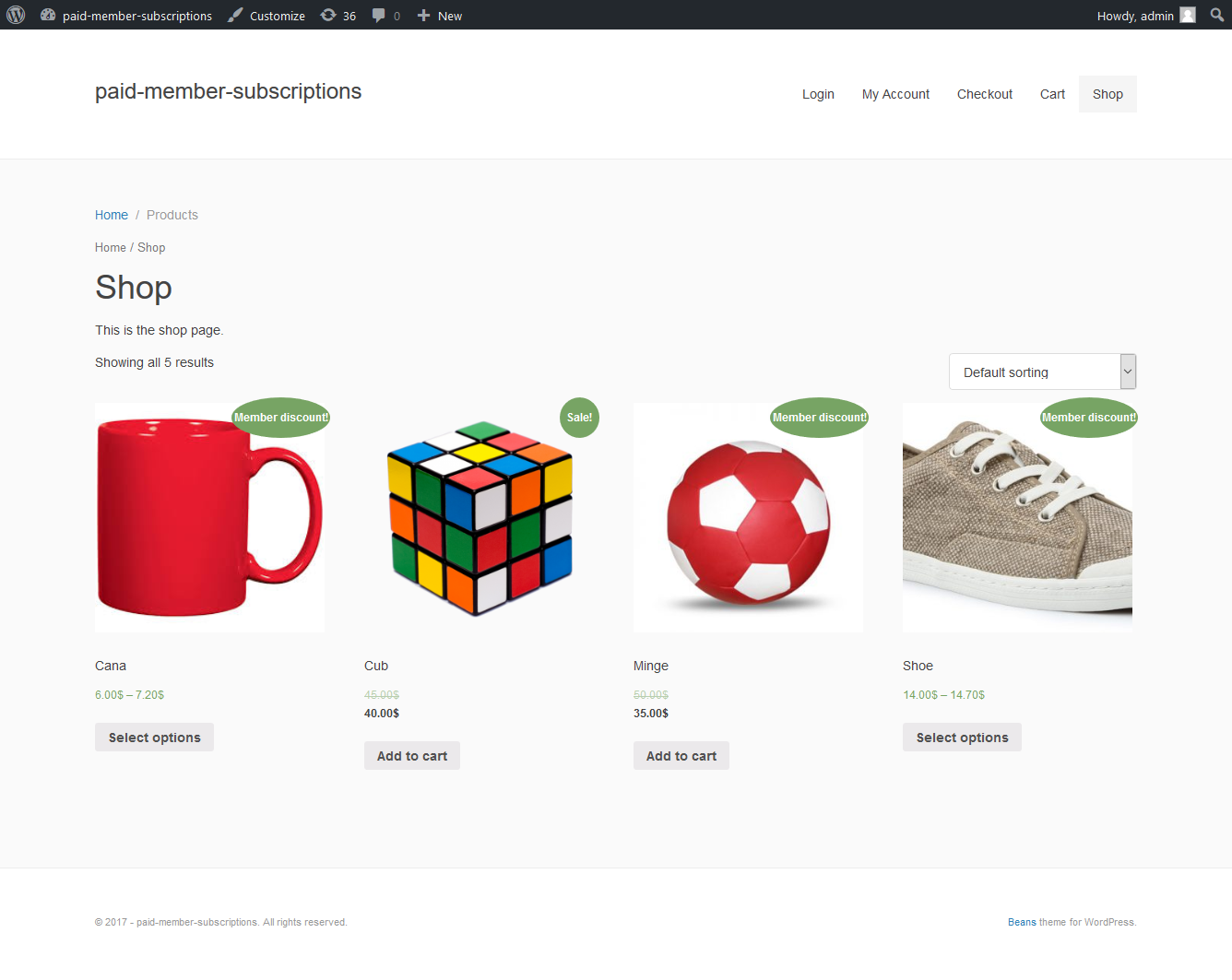 Display of member discounted products in the front-end