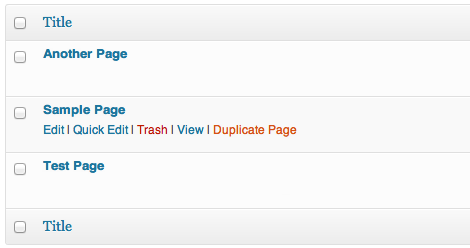 Sample view of the duplicate post link