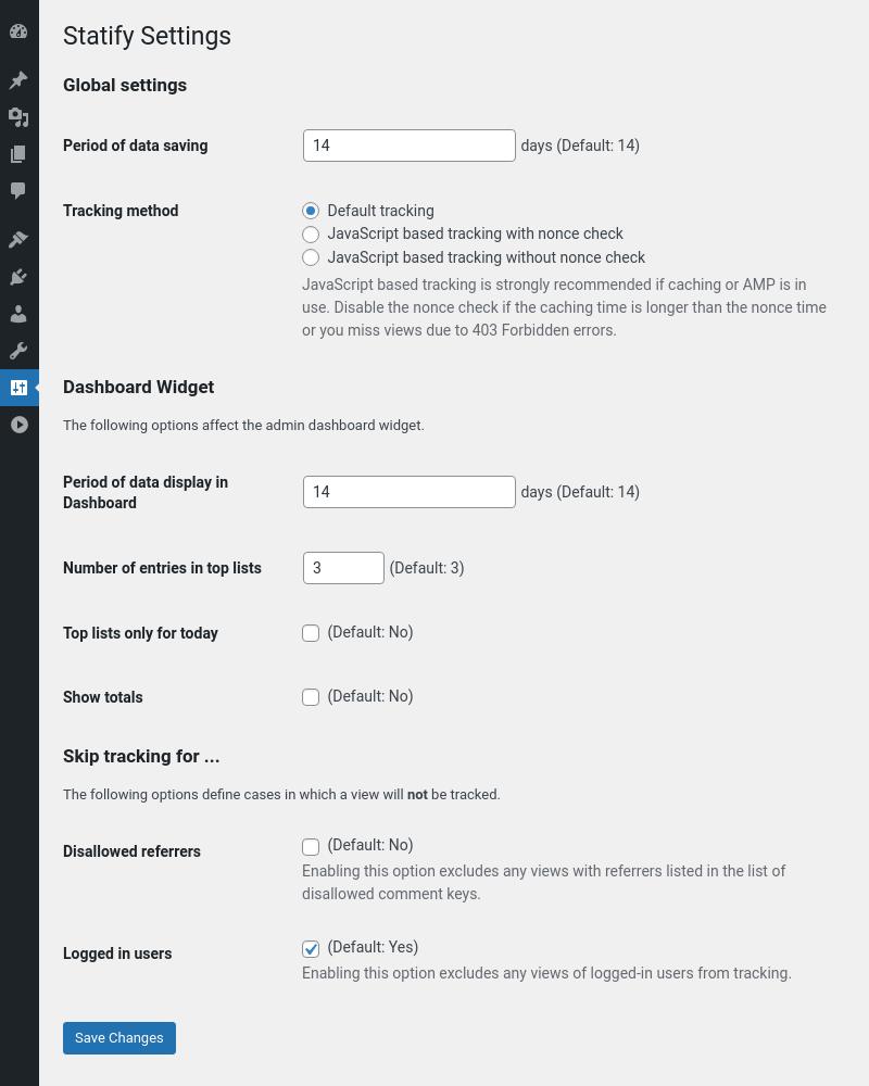 Statify settings page