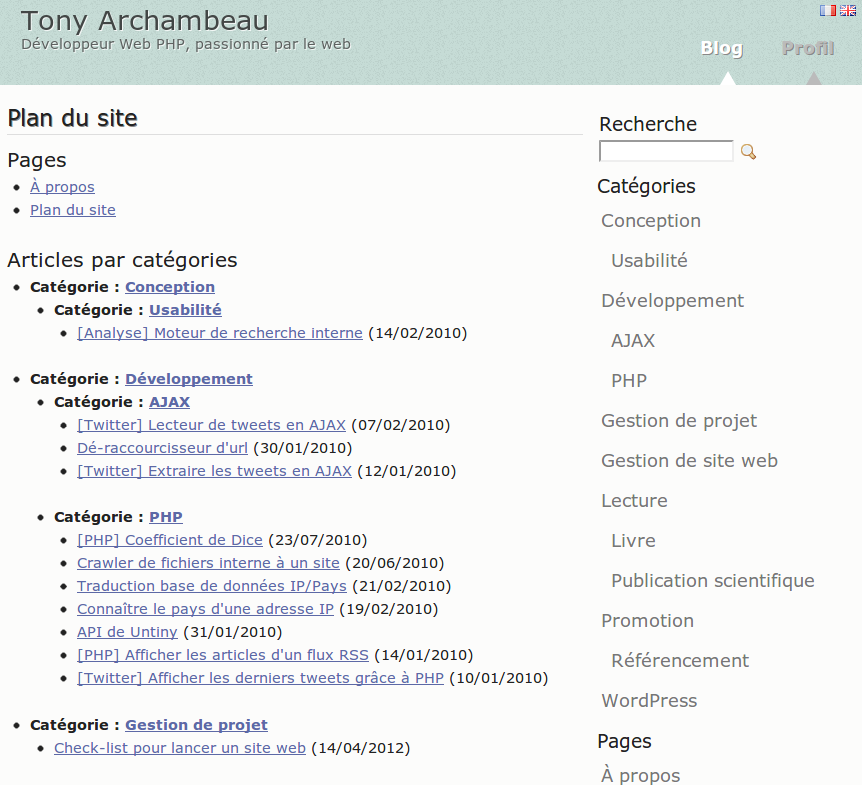 Example of a sitemap on a French blog